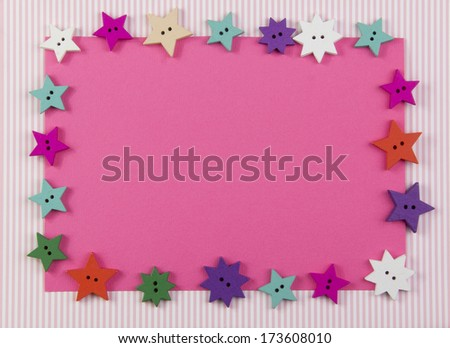 pink card with beautiful decoration of star shapes