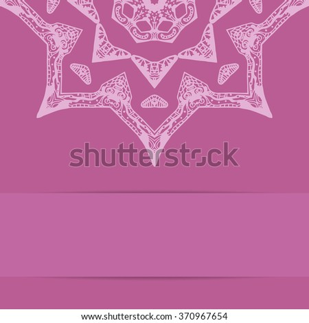 Pink card with ornate star pattern in zentangle style and copy space - stock photo