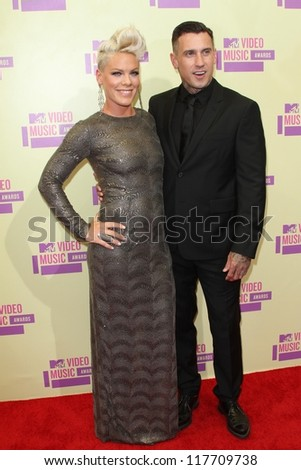 Pink, Carey Hart at the 2012 Video Music Awards Arrivals, Staples Center, Los Angeles, CA 09-06-12 - stock photo