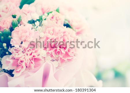 pink carnation bouquet with retro filter color - stock photo