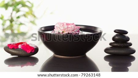Pink carnation floating in a bowl with petals on a black stone on one side and a stack ok black stones on the other side - stock photo