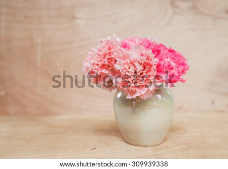 Pink Carnation fresh flowers in vase on wood background - stock photo