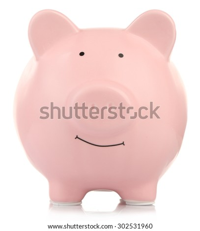 Pink ceramic piggy bank isolated on white - stock photo