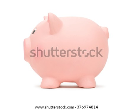 Pink ceramic piggy bank, isolated on white.  - stock photo