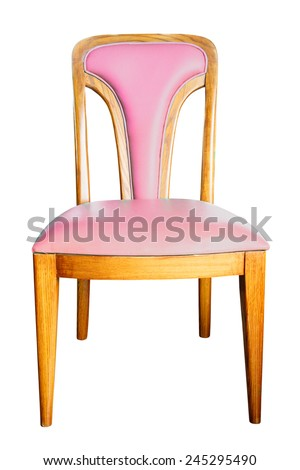 pink chair isolated with clipping path - stock photo