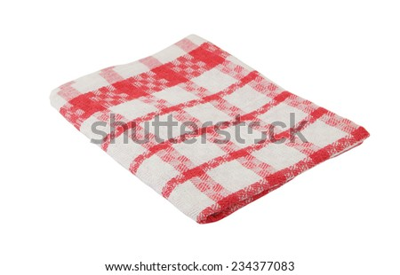 Pink checked tablecloth isolated on white