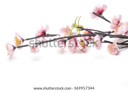 Pink Cherry blossom, sakura flowers isolated on white background, fake Flowers made from fabric - stock photo