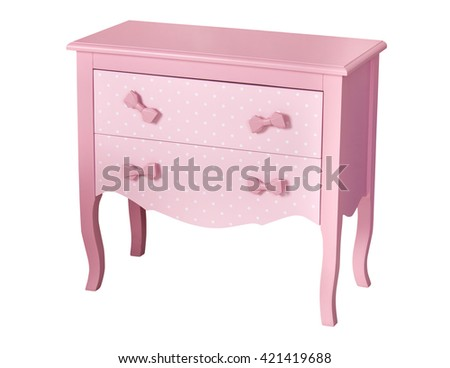 Pink children's chest of drawers isolated on white background - stock photo