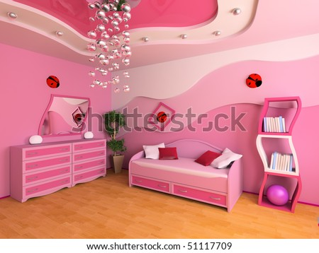 Pink children's room with a sofa 3d image - stock photo