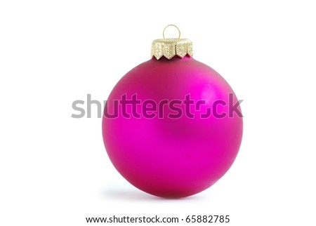 Pink christmas ball isolated on white background - stock photo