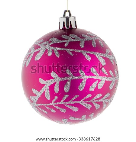Pink christmas ball on white background - stock photo