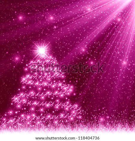 Pink Christmas Tree Background Stock Illustration 118404736 ...