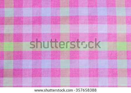 Pink classic checkered tablecloth texture, background with copy space. - stock photo