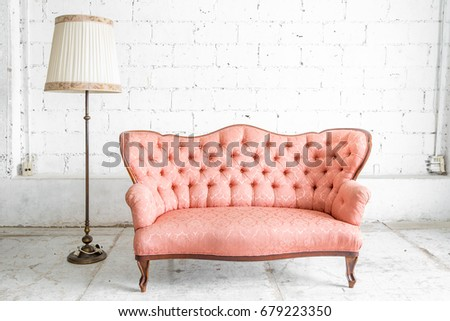 Pink Classical Style Sofa Couch Lamp Stock Photo (Royalty Free ...