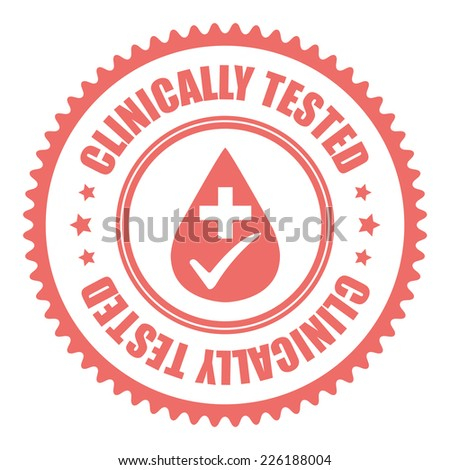 Pink Clinically Tested Icon, Sticker, Badge or Label Isolated on White Background  - stock photo