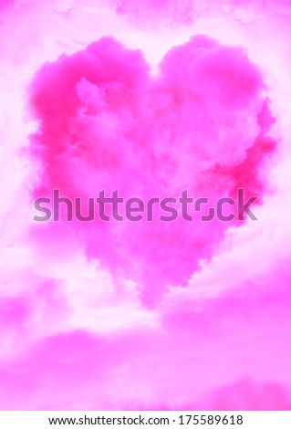 Pink cloud background with heart shaped cloud. Valentine's Day card.