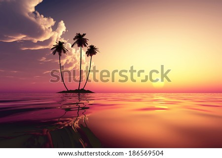 pink cloudfront over coconut island at tropical sunset - stock photo