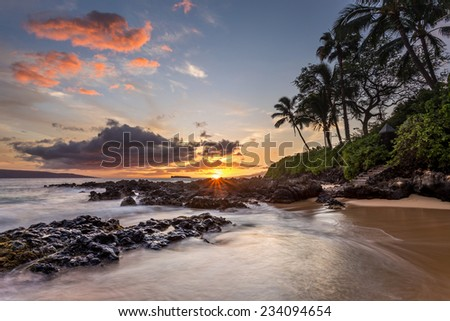 Pink Clouds at Secret Cove, Maui, Hawaii - stock photo