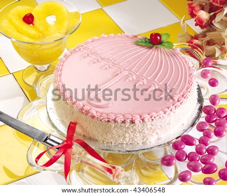 Pink Coconut Cake - stock photo