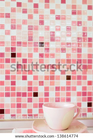 Pink coffee cup background pink mosaic - stock photo