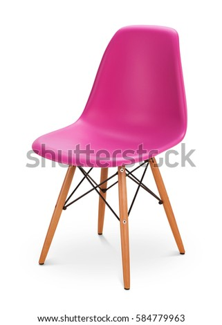 pink color chair modern designer chair isolated on white background series of furniture