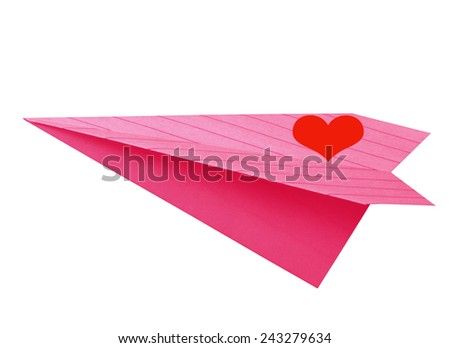 pink color paper plane for valentine wedding etc on white.  - stock photo