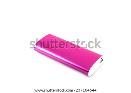 Pink color power bank on white background