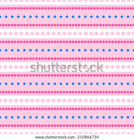 Pink colorful seamless pattern with stripes and polka dots
