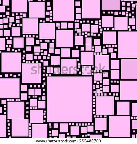 Pink colour squares on a black background. - stock photo