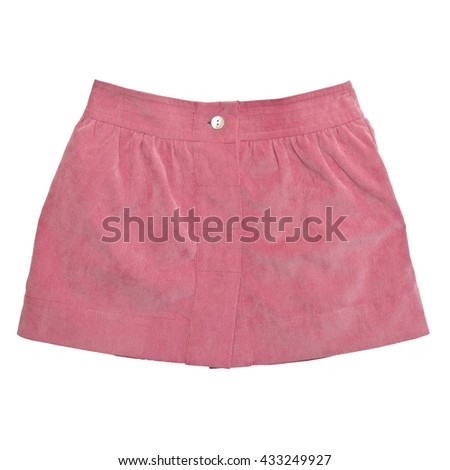 pink corduroy skirt on white background with working path