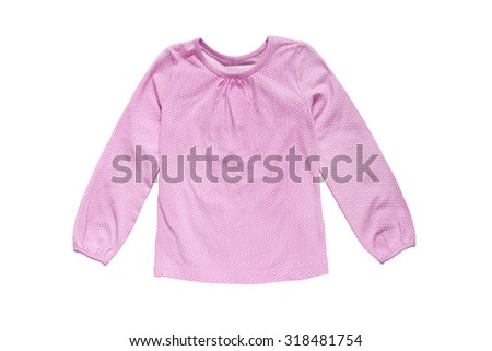 Pink cotton baby blouse on white background
