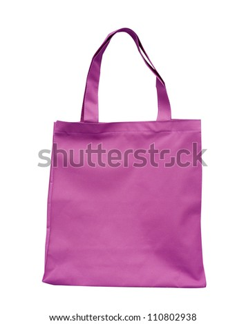 pink cotton bag - stock photo