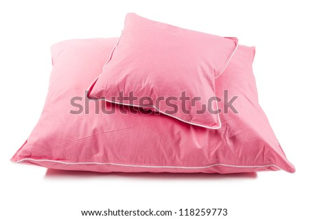 Pink cotton fluffy two pillows without cover, filled with fluff or feathers, objects isolated on white background, horizontal orientation, nobody.