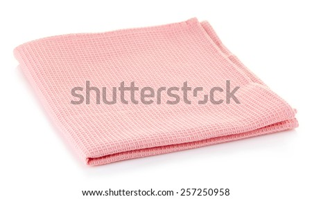 Pink cotton napkin isolated on white background