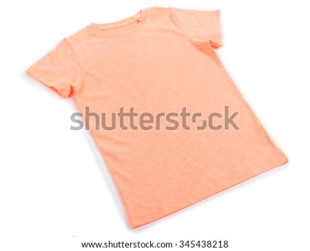 Pink cotton T-shirt isolated on white background - stock photo