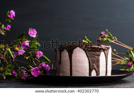 Pink creamy cake with flowers on the wooden background - stock photo