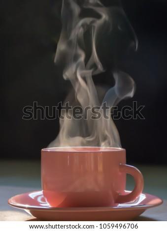 pink cup coffee tea smoke on stock photo royalty free 1059496706