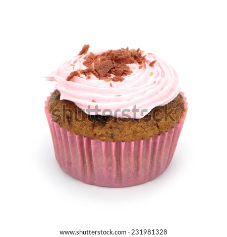 Pink cupcake isolated on white background.