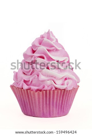 pink cupcake with swirl isolated on a white background for cutout