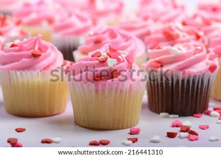 Pink Cupcakes Close Up - stock photo