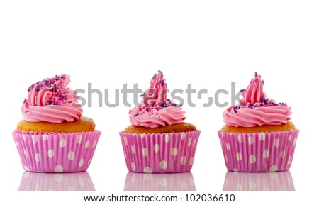 Pink cupcakes with purple sprinkles rose flower