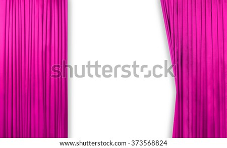 Pink curtain on theater or cinema stage slightly open on white background - stock photo