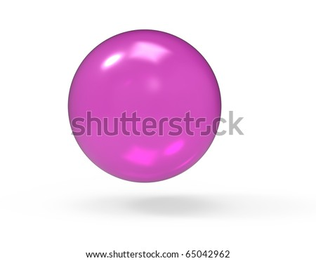 Pink 3d glass sphere on white