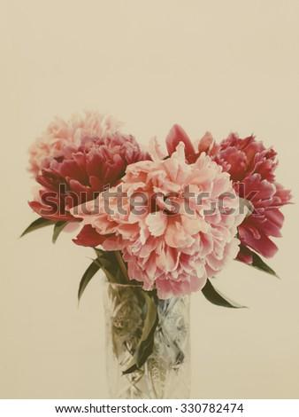 Pink dahlia in vase, vintage photo with grain - stock photo