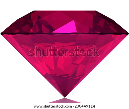 pink diamond lies on one of sides - stock photo