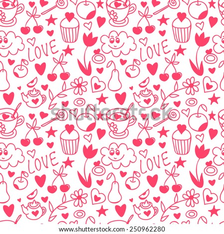 Pink doodle seamless pattern, with hearts, fruits, flowers, sweets.  Happy Valentine's Day background. - stock photo