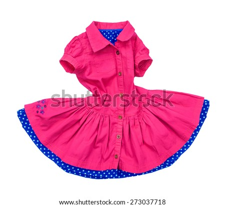 pink dress for girls in motion on a white background - stock photo