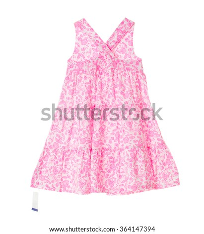 Pink dress with floral pattern and blank price tag. Isolated on a white background. - stock photo