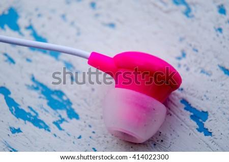 Pink Earbuds Closeup, macro - stock photo