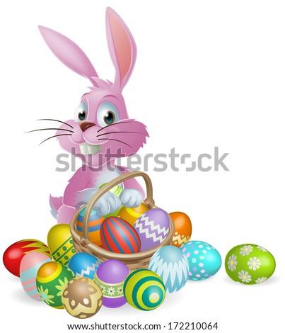 Pink Easter bunny rabbit with Easter eggs basket full of chocolate decorated Easter eggs - stock photo